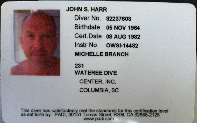 Diver Certification Card Back